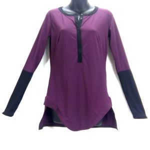 Lululemon Purple Plum Black Athletic Top Sz M/L